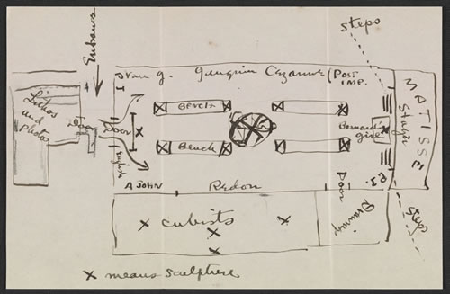 A diagram of the exhibition set-up at the Copley-Society included in a letter Walt Kuhn sent to Vera Kuhn, April 5, 1913. Walt Kuhn, Kuhn family papers, and Armory Show records, Archives of American Art, Smithsonian Institution