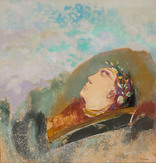 Odilon Redon (French, 1840–1916), Head of Orpheus, ca. 1903–10. Pastel on paper, 27⅛ × 22⅜ in. (68.8 × 56.8 cm). Musée Fabre de Montpellier Agglomeration, France