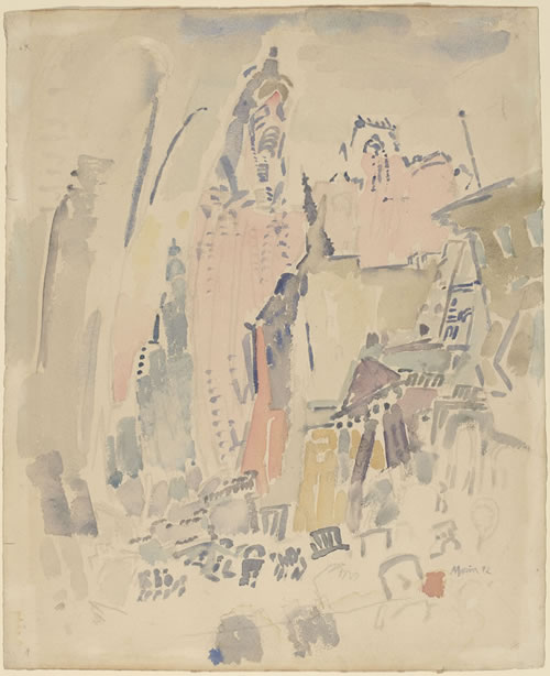John Marin (American, 1870–1953), Woolworth Building, No. 29, 1912. Watercolor on paper, 18 13/16 × 15½ in. (47.8 × 39.4 cm). National Gallery of Art, Washington, D.C., Gift of Eugene and Agnes E. Meyer