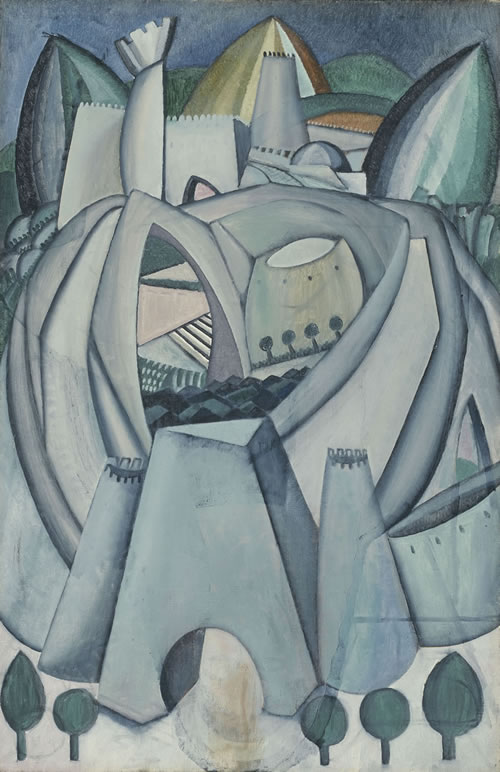 Amadeo de Souza-Cardoso (Portuguese, 1887–1918), The Stronghold, 1912. Oil on canvas, 36⅜ × 24 in. (92.4 × 61 cm). Arthur Jerome Eddy Memorial Collection, 1931.512, The Art Institute of Chicago