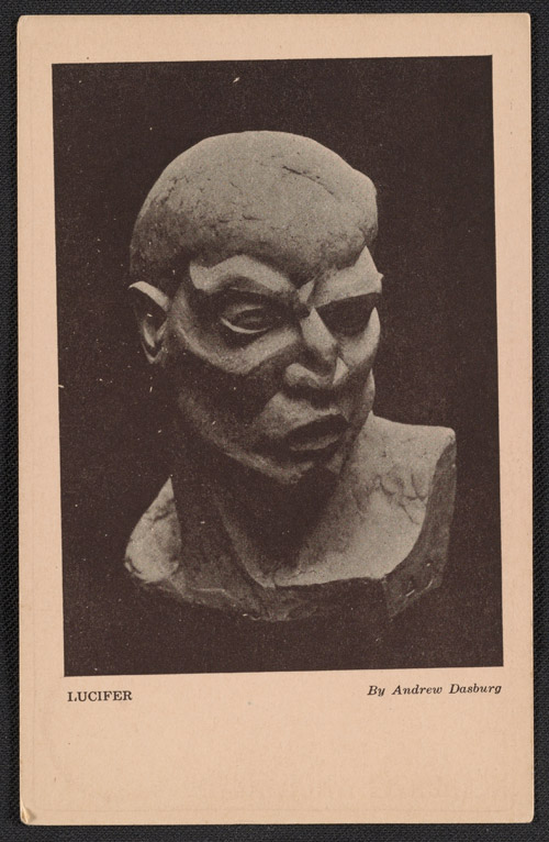 Armory Show postcard with reproduction of Andrew Dasburg's Lucifer, 1913. Walt Kuhn, Kuhn family papers, and Armory Show records, Archives of American Art, Smithsonian Institution