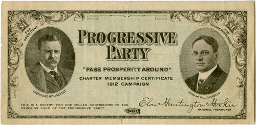 Receipt for $1 Contribution to the Progressive Party Campaign, 1912 Offset photography and typeset