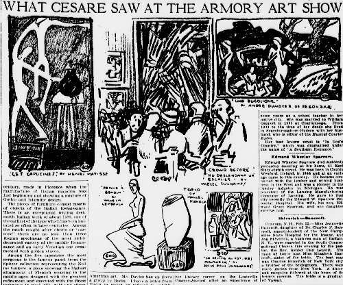 """Oscar Cesare (Swedish-American, 1885–1948), """"Crowd Before 'Nude Descendant un Escalier' by Marcel Duchamp,"""" in """"What Cesare Saw at the Armory Art Show,"""" The Sun (New York), February 23, 1913, p. 11. From the Library of Congress, Chronicling America: Historic American Newspapers"""