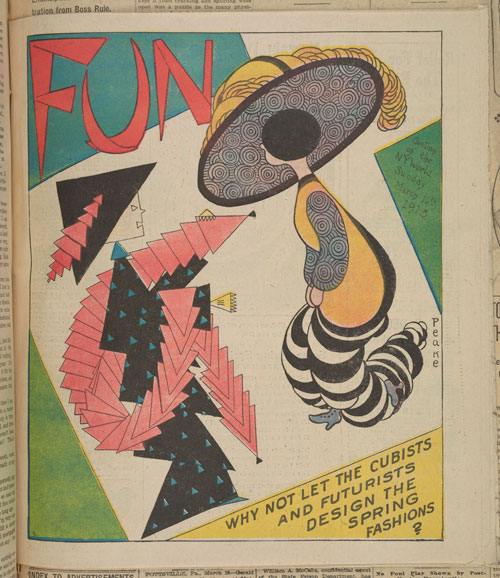 "Harvey Peake, ""Why Not Let the Cubists and Futurists Design the Spring Fashions?,"" New York World, March 16, 1913. American Newspaper Repository, David M. Rubenstein Rare Book and Manuscript Library, Duke University"