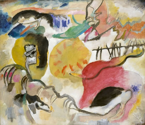 Wassily Kandinsky (Russian, 1866–1954), Improvisation 27 (Garden of Love II), 1912. Oil on canvas, 47⅜ × 55¼ in. (120.3 × 140.3 cm). The Metropolitan Museum of Art, New York. Alfred Stieglitz Collection, 1949 (49.70.1)