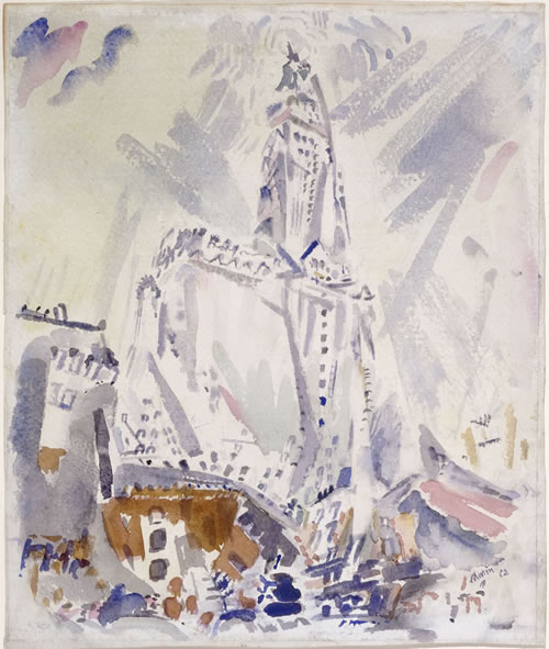 John Marin (American, 1870–1953), Woolworth Building, No. 31, 1912. Watercolor and graphite on paper, 18½ × 15 11/16 in. (47 × 39.8 cm). National Gallery of Art, Washington, Gift of Eugene and Agnes E. Meyer