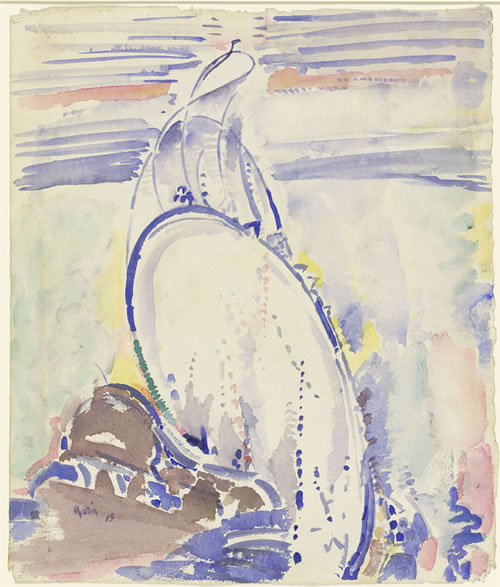 John Marin (American, 1870–1953), Woolworth Building, No. 32, 1913. Watercolor and graphite on paper, 18 5/16 × 15⅝ in. (46.5 × 39.7 cm). National Gallery of Art, Washington, Gift of Eugene and Agnes E. Meyer