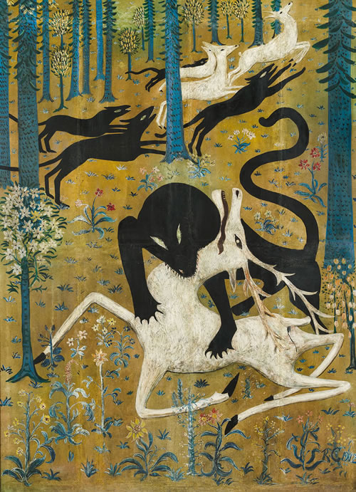Robert W. Chanler (American, 1872–1930), Leopard and Deer, 1912. Gouache or tempera on canvas, mounted on wood, 76½ × 52½ in. (194.3 × 133.4 cm). Rokeby Collection