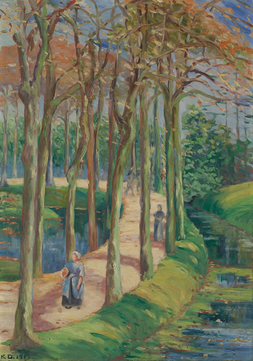 Katherine Sophie Dreier (American, 1877–1952), Landscape with Figures in Woods, ca. 1911–12. Oil on canvas, 27 ¼ x 19 in. (69.2 x 48.3 cm). Gift from the Artist's Estate, Michele and Donald D'Amour Museum of Fine Arts, Springfield, Massachusetts