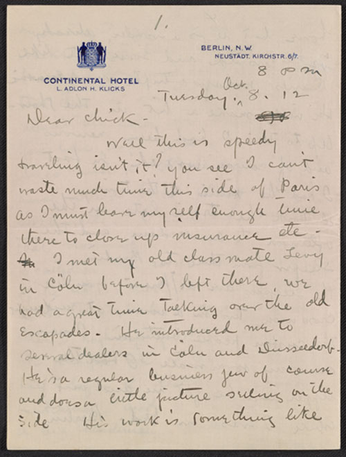 Walt Kuhn letter to Vera Kuhn, October 28, 1912. Walt Kuhn, Kuhn family papers, and Armory Show records, Archives of American Art, Smithsonian Institution