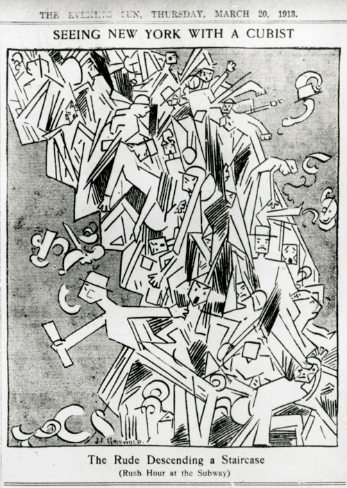 "F. Griswold, ""The Rude Descending a Staircase (Rush Hour at the Subway),"" New York Evening Sun, March 20, 1913. General Research Division, The New York Public Library, Astor, Lenox and Tilden Foundations"