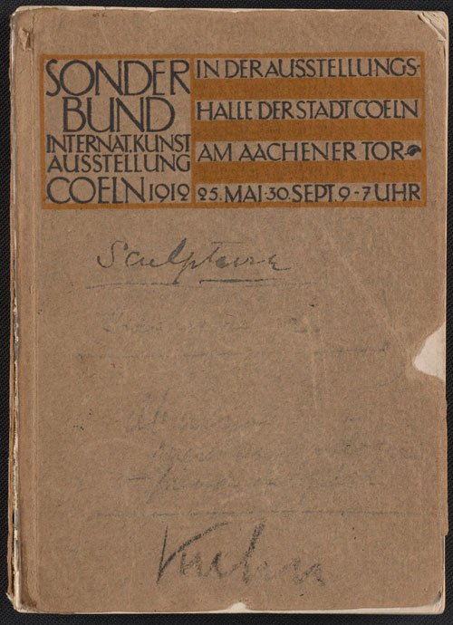 The cover of the Internationale Kunstausstellung des Sonderbundes Westdeutscher Kunstfreunde und Künstler catalogue, 1912. Walt Kuhn, Kuhn family papers, and Armory Show records, Archives of American Art, Smithsonian Institution